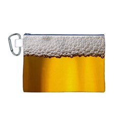 Beer Foam Yellow Canvas Cosmetic Bag (M)