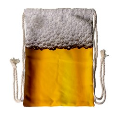 Beer Foam Yellow Drawstring Bag (Large)