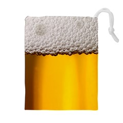 Beer Foam Yellow Drawstring Pouches (Extra Large)