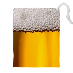 Beer Foam Yellow Drawstring Pouches (XXL)