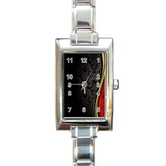 Black Red Yellow Rectangle Italian Charm Watch
