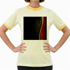 Black Red Yellow Women s Fitted Ringer T-Shirts