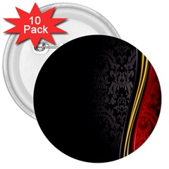 Black Red Yellow 3  Buttons (10 pack)