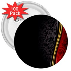 Black Red Yellow 3  Buttons (100 pack)