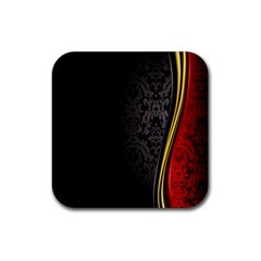 Black Red Yellow Rubber Square Coaster (4 pack)