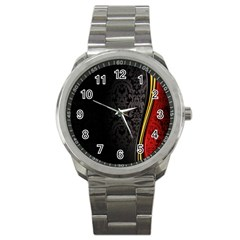 Black Red Yellow Sport Metal Watch