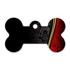 Black Red Yellow Dog Tag Bone (One Side)
