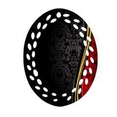 Black Red Yellow Oval Filigree Ornament (2-Side)