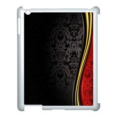 Black Red Yellow Apple iPad 3/4 Case (White)