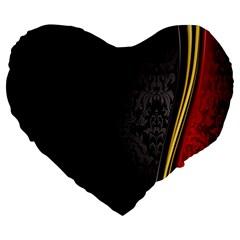 Black Red Yellow Large 19  Premium Heart Shape Cushions
