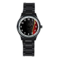 Black Red Yellow Stainless Steel Round Watch