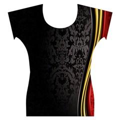 Black Red Yellow Women s Cap Sleeve Top