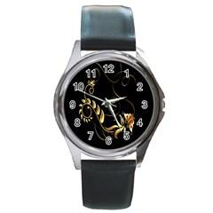 Butterfly Black Golden Round Metal Watch