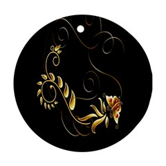 Butterfly Black Golden Ornament (Round)