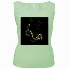 Butterfly Black Golden Women s Green Tank Top