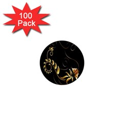 Butterfly Black Golden 1  Mini Magnets (100 pack)