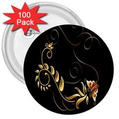 Butterfly Black Golden 3  Buttons (100 pack)
