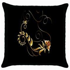 Butterfly Black Golden Throw Pillow Case (Black)