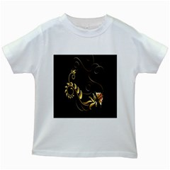 Butterfly Black Golden Kids White T-Shirts