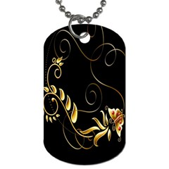 Butterfly Black Golden Dog Tag (One Side)