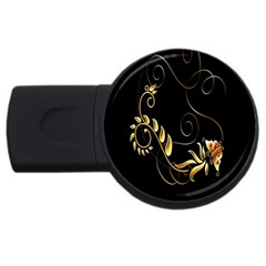 Butterfly Black Golden USB Flash Drive Round (1 GB)