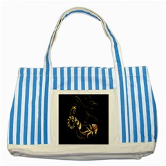 Butterfly Black Golden Striped Blue Tote Bag