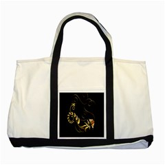 Butterfly Black Golden Two Tone Tote Bag