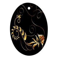 Butterfly Black Golden Oval Ornament (Two Sides)