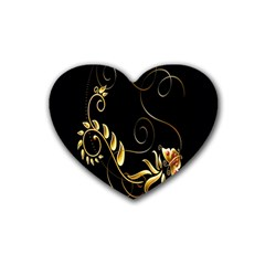 Butterfly Black Golden Heart Coaster (4 pack)