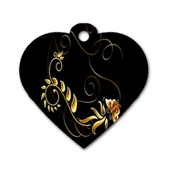 Butterfly Black Golden Dog Tag Heart (Two Sides)