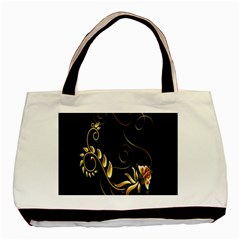 Butterfly Black Golden Basic Tote Bag (Two Sides)