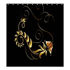 Butterfly Black Golden Shower Curtain 66  x 72  (Large)