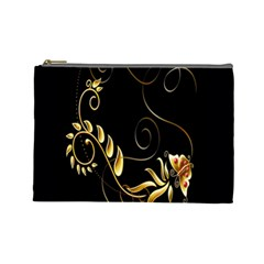 Butterfly Black Golden Cosmetic Bag (Large)