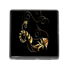 Butterfly Black Golden Memory Card Reader (Square)