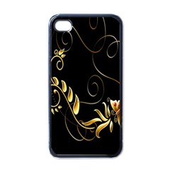 Butterfly Black Golden Apple iPhone 4 Case (Black)