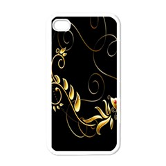 Butterfly Black Golden Apple iPhone 4 Case (White)
