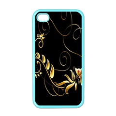Butterfly Black Golden Apple iPhone 4 Case (Color)