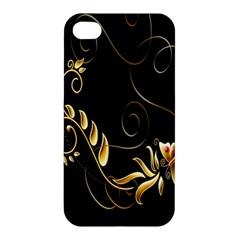 Butterfly Black Golden Apple iPhone 4/4S Premium Hardshell Case