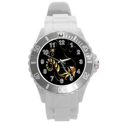 Butterfly Black Golden Round Plastic Sport Watch (L)