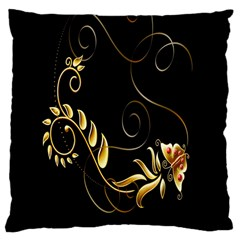 Butterfly Black Golden Large Cushion Case (One Side)