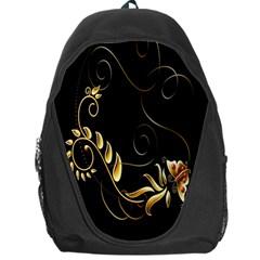 Butterfly Black Golden Backpack Bag