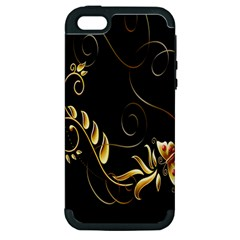 Butterfly Black Golden Apple iPhone 5 Hardshell Case (PC+Silicone)