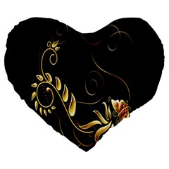 Butterfly Black Golden Large 19  Premium Heart Shape Cushions