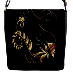 Butterfly Black Golden Flap Messenger Bag (S)
