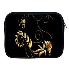 Butterfly Black Golden Apple iPad 2/3/4 Zipper Cases