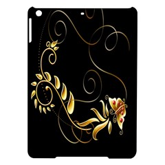 Butterfly Black Golden iPad Air Hardshell Cases