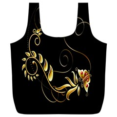 Butterfly Black Golden Full Print Recycle Bags (L)