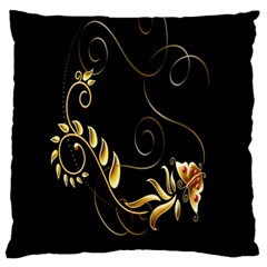 Butterfly Black Golden Large Flano Cushion Case (One Side)
