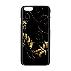 Butterfly Black Golden Apple iPhone 6/6S Black Enamel Case