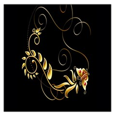 Butterfly Black Golden Large Satin Scarf (Square)